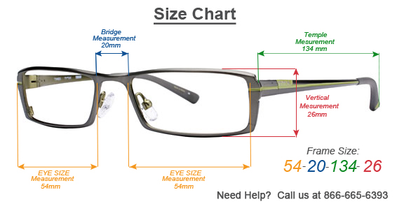 Glasses Frame Bridge Size : Frame Size Information - How to measure for an eyeglass frame
