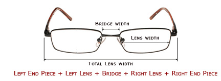 Eyeglass Frames Size Chart : Frame Size Information - How to measure for an eyeglass frame